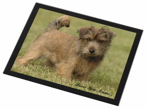 Norfolk Norwich Terrier 'Love You Mum' Black Rim Glass Placemat Ani, ADNT1lymGP
