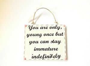 Only Young Once Quote Hanging Ornament Plaque Funny Age Sign