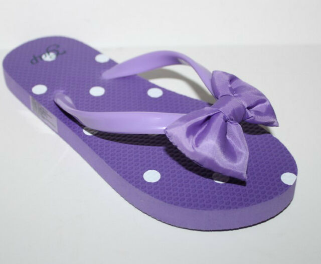 Gap Kids NWT Girls 10 11 12 13 Purple Swim Jelly Flip Flops Sandals w  Puffy Bow