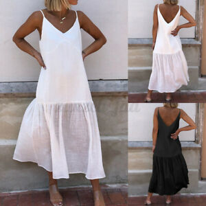 Women-Swing-Dress-Holiday-Strappy-Ladies-Summer-Beach-Midi-Sun-Dresses-Plus-Size