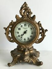"""NEW HAVEN BRASS AND PORCELAIN MANTEL CLOCK VERY NICE for repair. APPROX 6"""" Tall"""