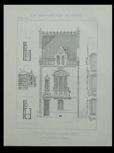 BOIS COLOMBES, HOTEL PRIVE - 1895 - PLANCHE ARCHITECTURE - PAUL ALBERT LESEINE - France - Thme: Architecture Période: XIXme et avant - France