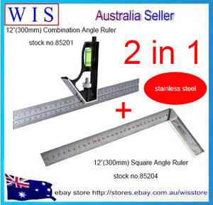 """2 in 1 Angle Stainless Steel Ruler,Square Ruler,Silver Tone,12""""(300mm<wbr/>) Length"""