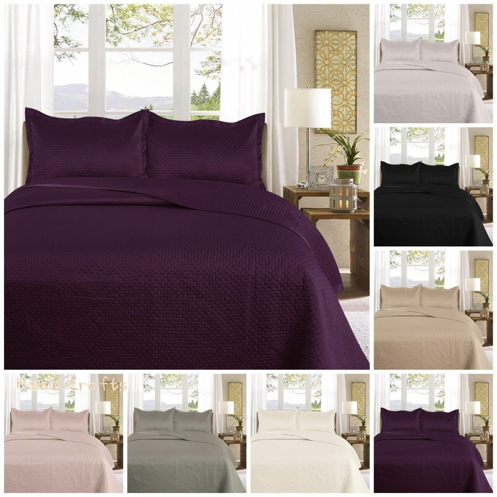 Bedspread With 2 Pillow Bedding Duvet Throw Quilted Embossed Double King