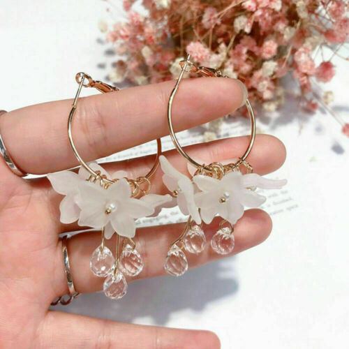 Luxe femmes cristal Tassel Dangle Acrylique Fleur Goutte Boucles d/'oreilles Bijoux Cadeau
