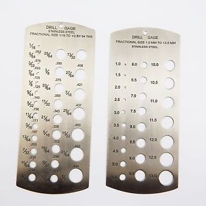 "Set 2 Stainless Steel Drill Gauges metric & Imperial gauge 1/16 -1/2"" & 1-13mm"