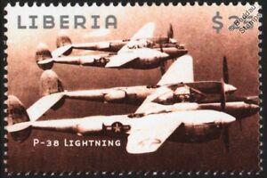 WWII Lockheed P-38 LIGHTNING Heavy Fighter Aircraft Stamp
