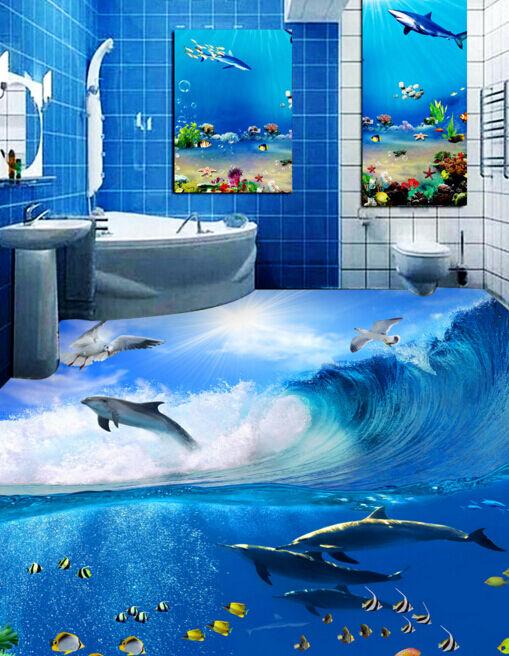 3D Papel de Parojo de suelo gaviotas Delfín 83 Impresión De Parojo Murales AJ Wallpaper Reino Unido Limón