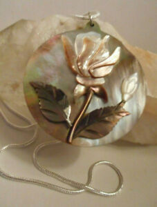 Super Huge Flower Natural  Abalone Shell Carved Shell Silver Necklace Pendant