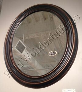 framed oval bathroom mirror ribbed wall mirror antique bronze gold 34 quot oval wood frame 18395 | s l300