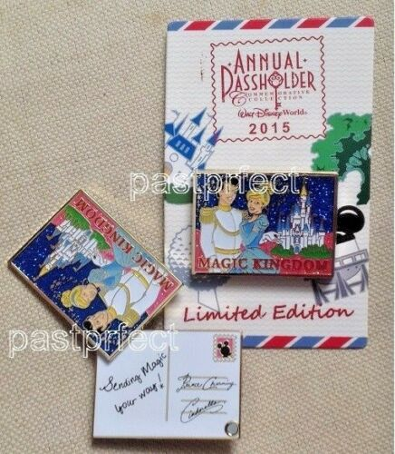Disney LE Pin Magic Kingdom Postcard 2015 Passholder Cinderella Prince Charming