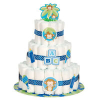 Baby Boy Monkey Diaper Cake Kit (25pc) Shower Party Supplies Decorations Blue