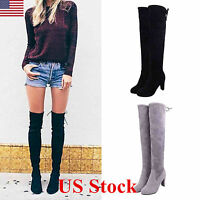 Womens Ladies Thigh High Heel Over The Knee Long Lace Up Faux Suede Boots Shoes