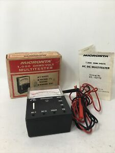 Genuine Vintage Micronta (22-027) 1,000 OHMS / Volt Multitester in Box VG