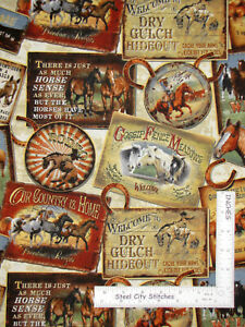 Rodeo-Cowboy-Horse-Western-Scenes-Toss-Cotton-Fabric-QT-Round-039-Em-Up-By-The-Yard