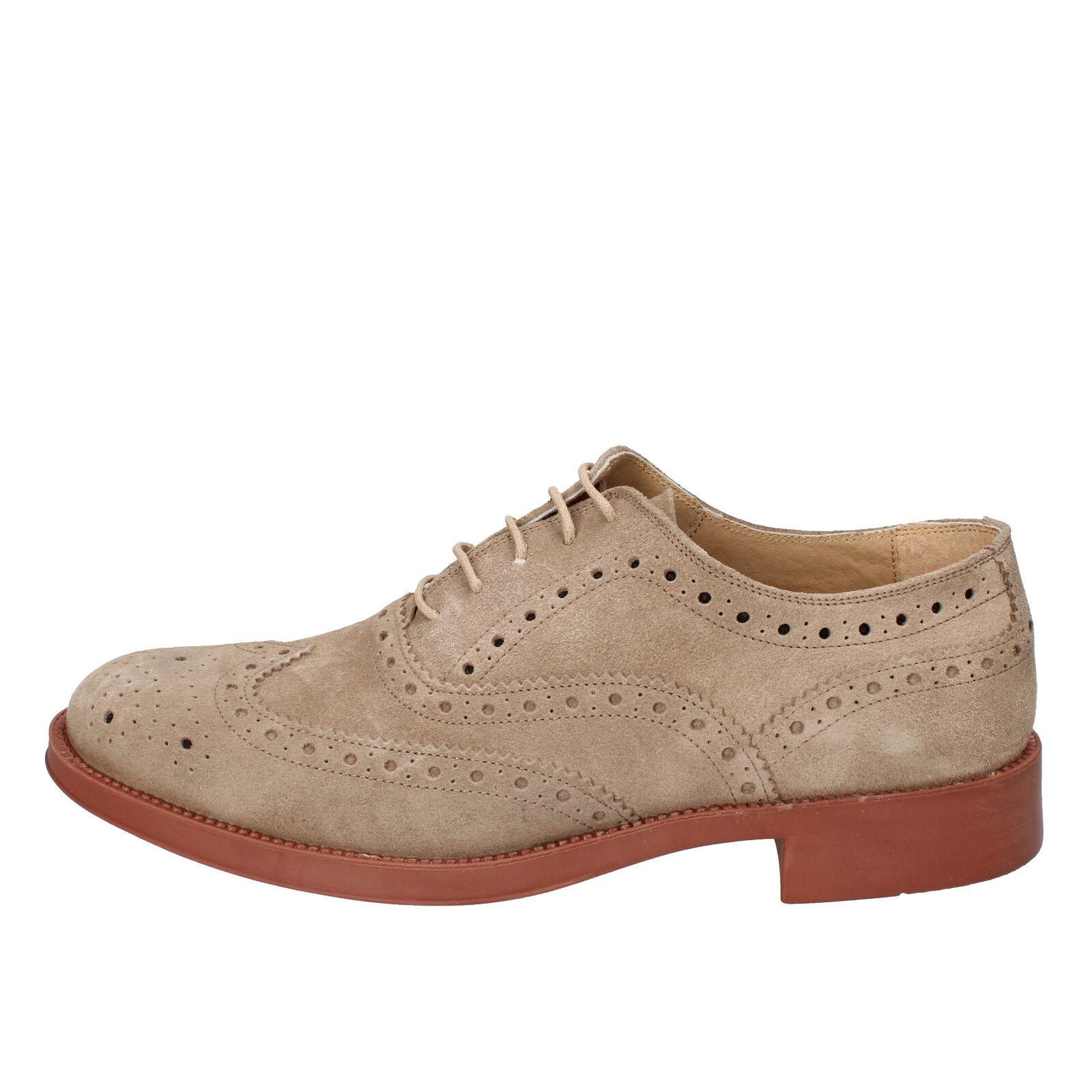 scarpe uomo L&G 43 classiche beige camoscio AB659-D