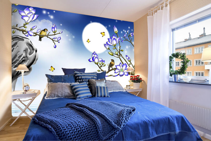 3D Moon bluee Flower Bird 5522 Wall Paper Wall Print Decal Wall AJ WALLPAPER CA
