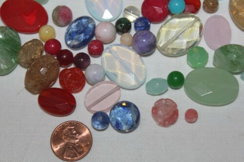 Faceted /& Smooth *Excellent Shape* Mix Lot of 100 Beads//Pack Stone-Glass-Quartz