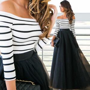 2-teiliges-Kleid-Abendkleid-Shirt-Rock-Schulterfrei-Maxikleid-Sommerkleid-BC464
