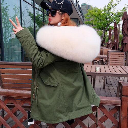 Women Fluffy Raccoon//Fox Fur Collar Hooded Coat Winter Jacket Warm Parka Outwear