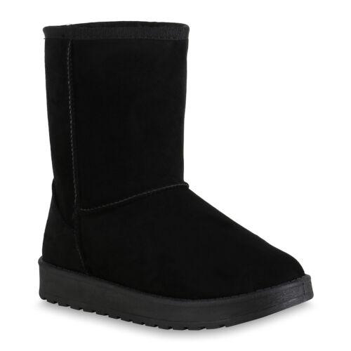 893640 Damen Stiefel Warm Gefütterte Schlupfstiefel Profil Sohle Schuhe New Look
