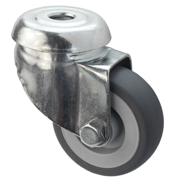 50 mm Transportrollen Lenkrollen Möbelrollen TK 50 kg Gummi spurlos Rückenloch