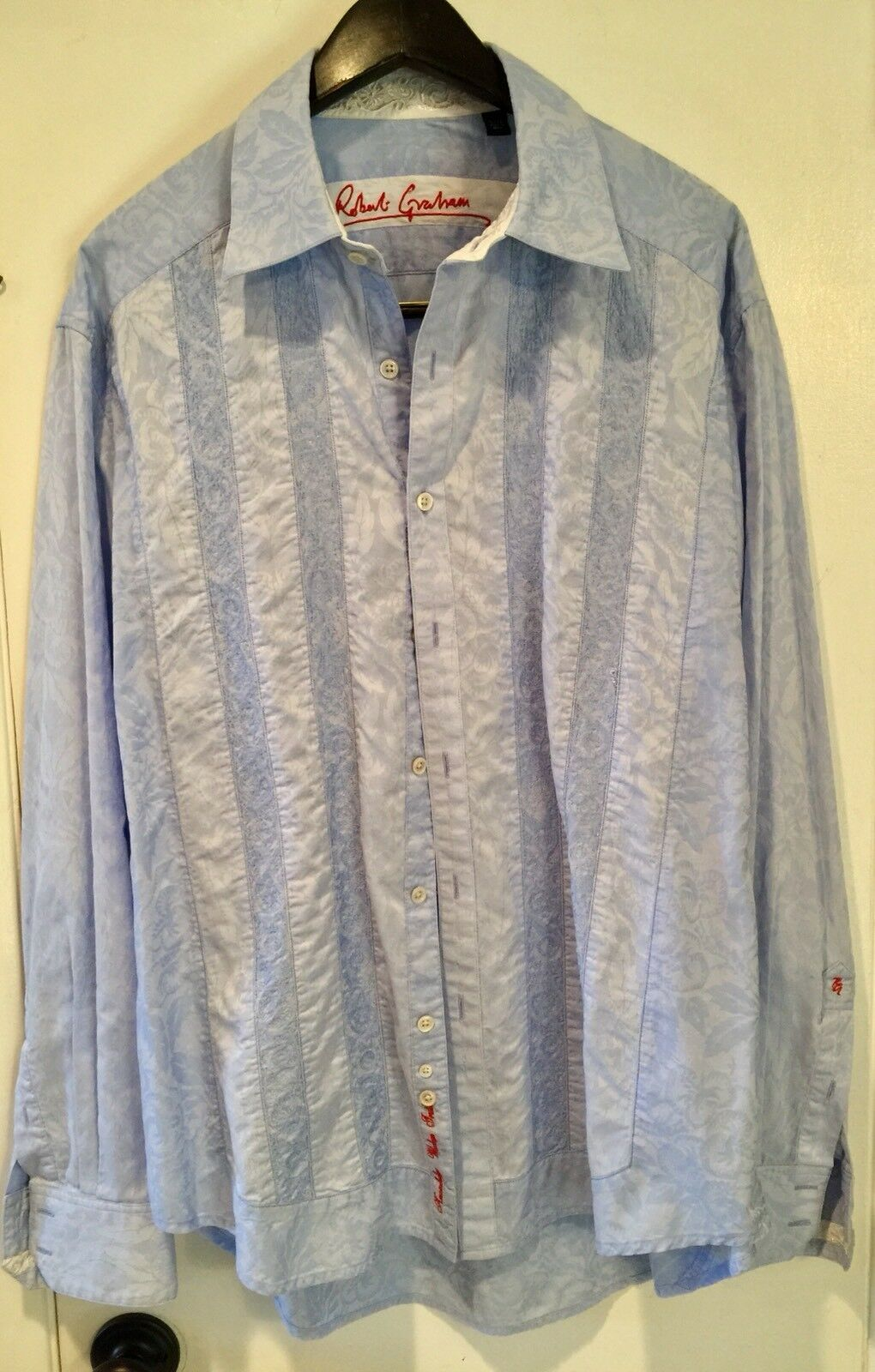 Robert Graham Powder bluee Shirt With Detailed White Embroidery and Flip Cuff XL