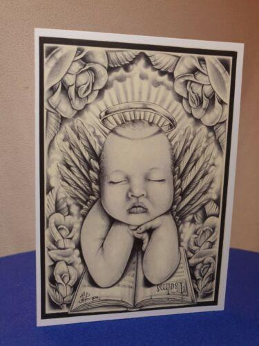 + enveloppes Cartes de vœux Pack x 5 Baby Art Halo psaumes Blanc Noël A5