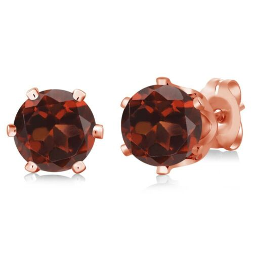 2.00 Ct Round Red Garnet Rose Gold Plated 6-prong Stud Earrings 6mm