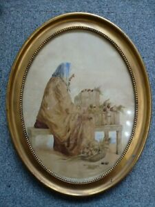 Antique-Oval-gold-frame-British-Old-Watercolour-Painting-Country-Lady-portrait