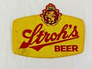 Vintage Stroh's Beer Sew On Embroidered Patch 7 x 9.5 Jacket Brew
