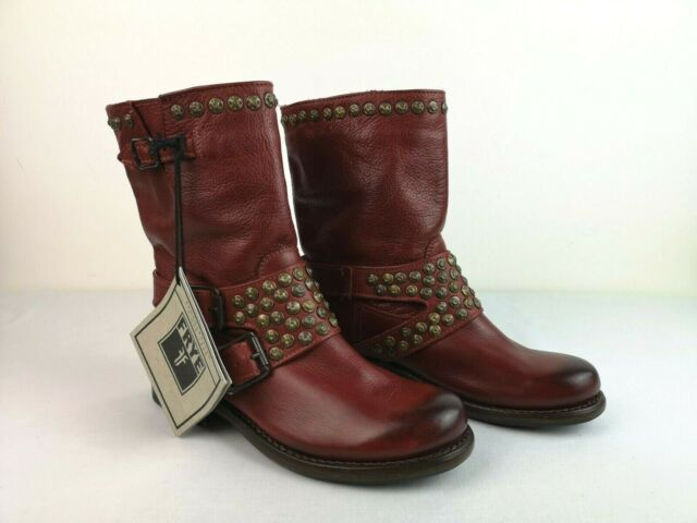 Frye Jenna Studded Short Leather Boots Burnt Red Size 5.5 B