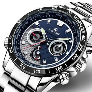 Luxury-Men-039-s-Stainless-Steel-Waterproof-Sports-Date-Quartz-Business-Wrist-Watch