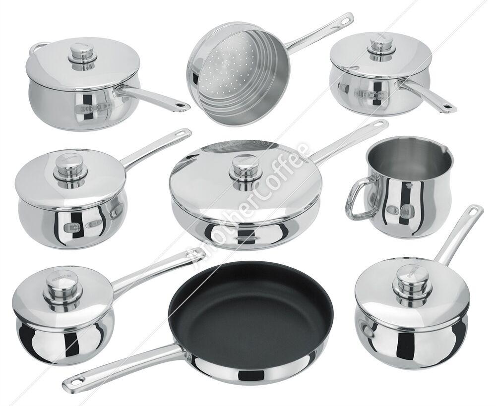 Stellar 1000 S1F2 Ensemble 9 pièces - 6 casseroles, Steamer, saute & Fry Pan