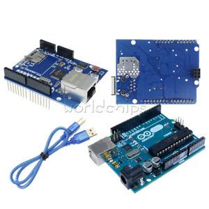 Original-Arduino-UNO-R3-ATmega328-MEGA328P-Ethernet-Shield-W5100-Board-USB-Cable