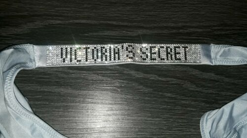 VICTORIA secret shine rhinestone strap Brazilian panty new size small blue alloy