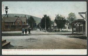 West-Shokan-Olive-NY-c-1906-Postcard-MAIN-STREET-Railroad-Station-Post-Office
