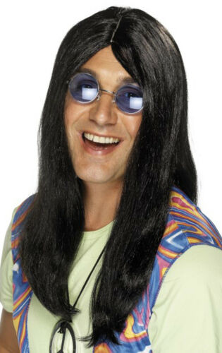 New Mens 1960s Groovy Fancy Dress Party Neil Hippy Wig With Side Parting Wigs