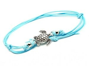 Ankle-Bracelet-Turtle-Beaded-Bohemian-Anklet-Foot-Beach-Jewelry-Aqua-Cord-Lace