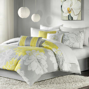 Image Is Loading Modern Contemporary Chic White Grey Yellow Flower Soft