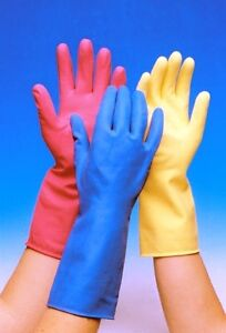 12-Paar-Gummihandschuhe-Professional-abwaschen-Reinigung-pink-gelb-blau-S-M-L