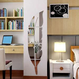 Das Bild Wird Geladen 3D  Spiegel Feder Wandaufkleber Wandtattoo Wandsticker Abnehmbare Zimmer