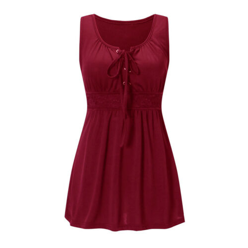 Womens Casual Lace Up Vest T Shirt Blouse Ladies Sleeveless Tank Tops Plus Sizes