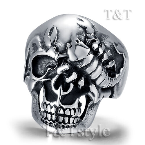 High Quality TTstyle 316L Stainless Steel Scorpion Skull Ring Choose Size