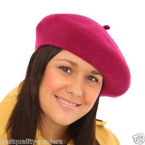 e98d4c30dd Image is loading Ladies-Elegant-French-Beret-Hat-Black-Red-Raspberry-