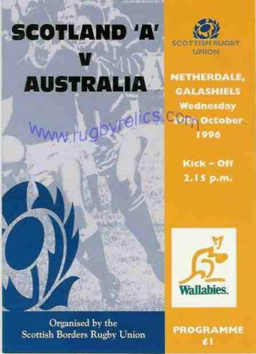 AUSTRALIA 1996 RUGBY TOUR PROGRAMME v SCOTLAND A 30th October at Gala