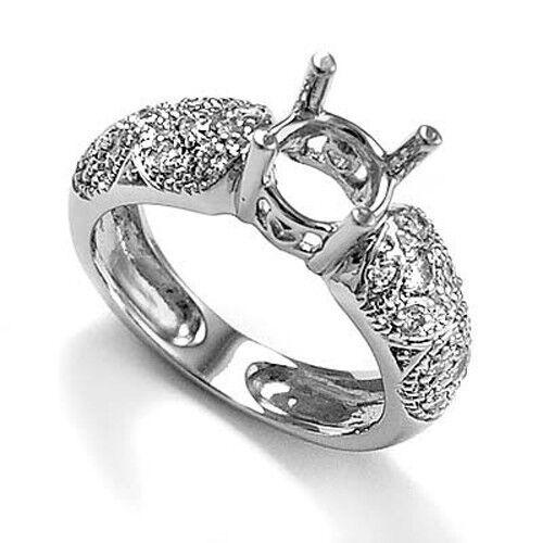 18k White gold Diamond Semi-Mount Ring Setting Ring Sizes 4 to 9.5