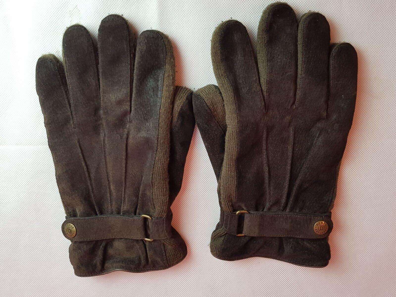 Dents Men's Leather Suede Side Knit Fleece Lined Wrist Adjustable Gloves Size L