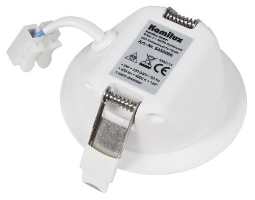 230V ultraflache Feuchtraum Spots LED Einbauleuchten 30mm ET FLIP IP44 6W = 60W