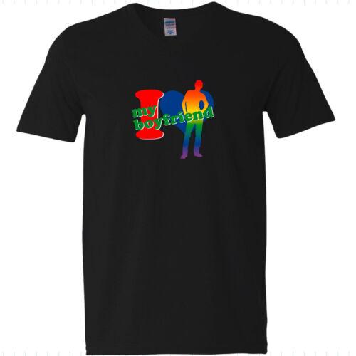 V-t-shirt-I Love My Boyfriend-CDD-rainbow 9-gay Gay Arc-en-ciel messieurs